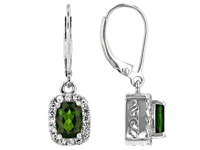 Green Chrome Diopside Rhodium Over Sterling Silver Dangle Earrings 2.06ctw