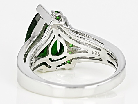 Green Chrome Diopside Rhodium Over Sterling Silver Ring 2.94ctw
