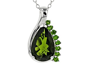 Green Chrome Diopside Rhodium Over Sterling Silver Pendant With Chain 2.89ctw