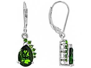 Green Chrome Diopside Rhodium Over Sterling Silver Dangle Earrings 3.42ctw