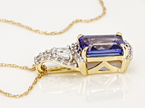 Blue Tanzanite 10k Gold Pendant With Chain 1.55ctw