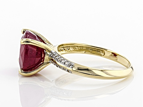 Red Mahaleo® Ruby 10k Gold Ring 5.14ctw