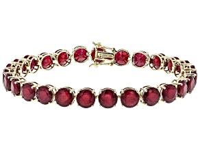 Red Ruby 10k Gold Tennis Bracelet 46.82ctw