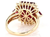 Red Mahaleo® Ruby 10k Yellow Gold Ring 8.16ctw