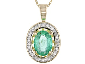 Green Ethiopian Emerald 10k Gold Pendant With Chain 1.05ctw