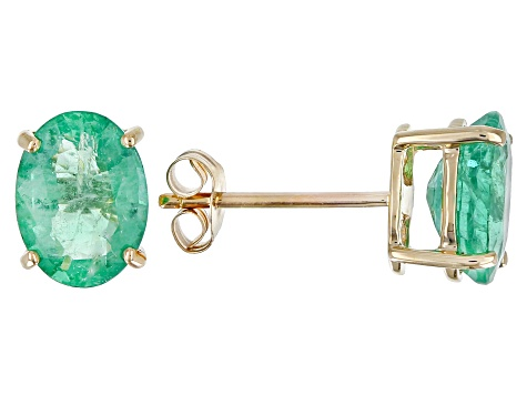 Green Emerald 10k Gold Stud Earrings 1.80ctw