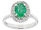 Green Emerald Rhodium Over 10k White Gold Ring 1.05ctw