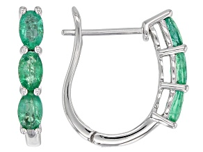Green Ethiopian Emerald Rhodium Over 10k White Gold J-Hoop Earrings 1.27ctw