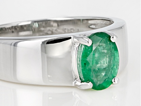 Green Ethiopian Emerald Rhodium Over 14k White Gold Gent's Ring .98ct