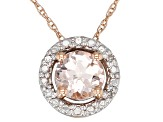 Pink Cor-de-Rosa Morganite ™ 10k Rose Gold Pendant With Chain .39ctw
