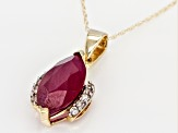 Red Mahaleo® Ruby 10k Yellow Gold Pendant With Chain 3.11ctw