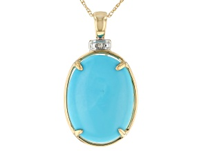 Blue Sleeping Beauty Turquoise 14k Yellow Gold Pendant With Chain .01ctw