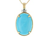 Blue Sleeping Beauty Turquoise 14k Gold Pendant With Chain .01ctw
