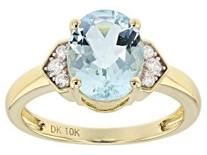 Blue Aquamarine 10k Gold Ring 2.12ctw