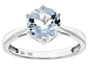 Blue Aquamarine Rhodium Over 10k White Gold Ring 1.30ct