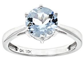 Blue Aquamarine Rhodium Over 10k White Gold Ring 1.30ct