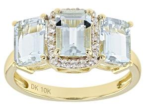 Blue Aquamarine 10k Gold Ring 2.29ctw