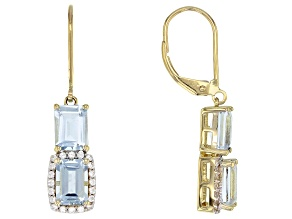 Blue Aquamarine 10k Gold Earrings 3.16ctw
