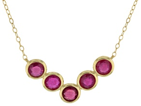 Red Mahaleo® ruby 10k Yellow Gold Necklace 5.50ctw