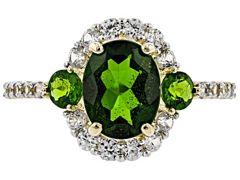 Green Chrome Diopside 10k Yellow Gold Ring 3.20ctw