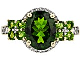Green Russian Chrome Diopside 10k Yellow Gold Ring 4.42ctw