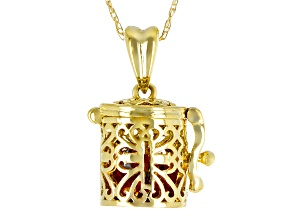 Multi-Color Sapphire 10k Yellow Gold Prayer Box Pendant With Chain 1.27ctw