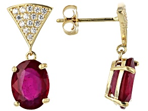 Mahaleo ® ruby 10k Gold Earrings 3.76ctw