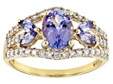Blue Tanzanite 10k Gold Ring 1.65ctw