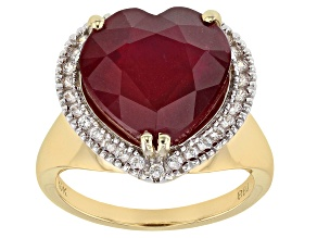 Red Mahaleo® Ruby 10k Yellow Gold Heart Ring 9.67ctw