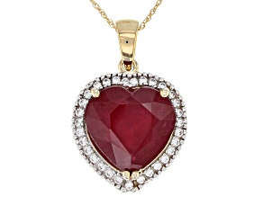 Red Ruby 10k Gold heart Pendant With Chain 9.67ctw
