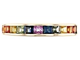 Mixed-Color Sapphire 10k Yellow Gold Band Ring 1.22ctw