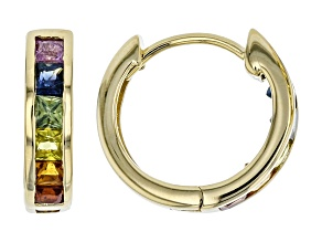 Mixed-Color Sapphire 10k Gold Huggie Hoop Earrings 1.33ctw