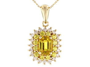 Yellow Sapphire 10k Gold Pendant With Chain 1.82ctw