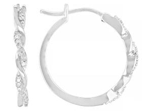 White Diamond Rhodium Over Sterling Silver Hoop Earrings 0.10ctw