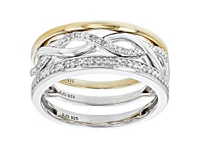 White Diamond Rhodium And 14k Yellow Gold Over Sterling Silver 3 Stackable Rings 0.10ctw