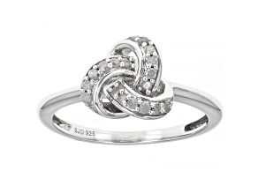 White Diamond Rhodium Over Sterling Silver Knot Ring 0.15ctw