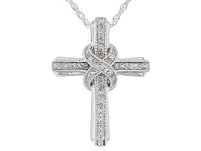 White Diamond Rhodium Over Sterling Silver Cross Pendant With Chain 0.10ctw