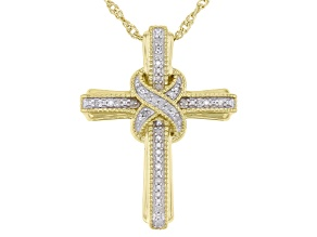 White Diamond 14k Yellow Gold Over Sterling Silver Cross Pendant With Chain 0.10ctw