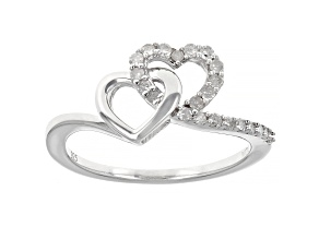 White Diamond Rhodium Over Sterling Silver Double Heart Ring 0.25ctw