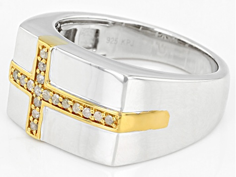 Diamond Rhodium & 14K Yellow Gold Over Sterling Silver Cross Mens Ring 0.20ctw