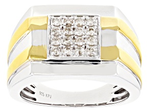 Diamond Rhodium And 14K Yellow Gold Over Sterling Silver Mens Statement Ring 0.33ctw