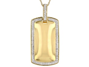 "White Diamond 14k Yellow Gold Over Sterling Silver Mens Dog Tag Pendant With 18"" Rope Chain 0.20ctw"