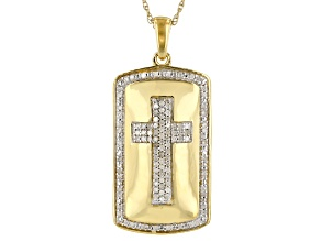 White Diamond 14k Yellow Gold Over Sterling Silver Mens Cross Pendant With 18