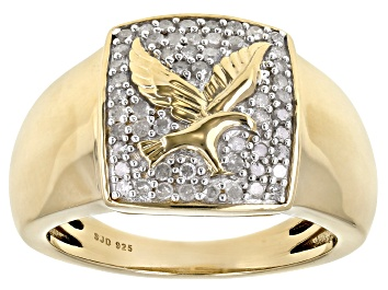 Picture of White Diamond 14k Yellow Gold Over Sterling Silver Mens Eagle Ring 0.50ctw
