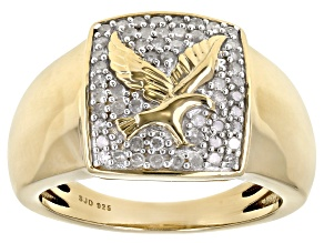 White Diamond 14k Yellow Gold Over Sterling Silver Gents Eagle Ring 0.50ctw