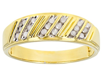 Picture of White Diamond 14k Yellow Gold Over Sterling Silver Mens Band Ring 0.15ctw