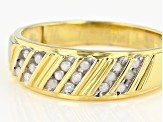White Diamond 14k Yellow Gold Over Sterling Silver Mens Band Ring 0.15ctw