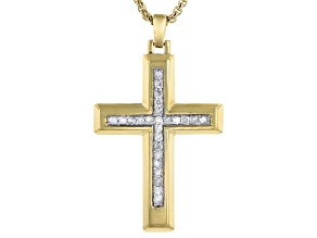 White Diamond Rhodium & 14K Yellow Gold Over Sterling Silver Cross Mens Pendant 0.50ctw