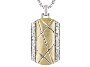 White Diamond Rhodium & 14K Yellow Gold Mens Pendant 0.50ctw