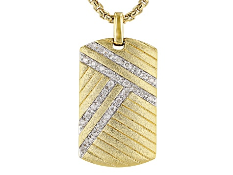 White Diamond 14K Yellow Gold Over Sterling Silver Mens Pendant 0.25ctw